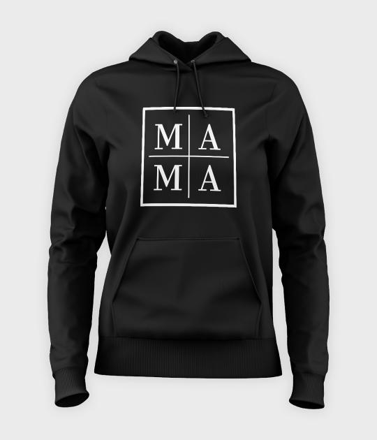 Bluza damska z kapturem Mama - biały kwadrat