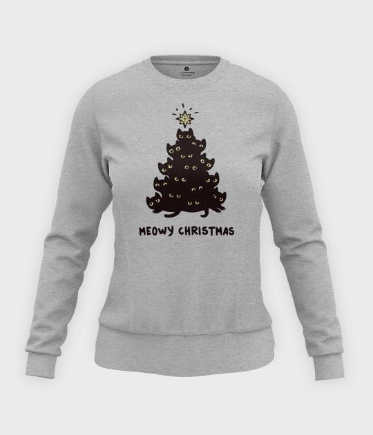 Bluza damska taliowana Meowy christmas