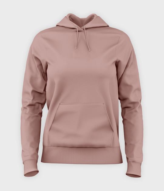 Damska bluza z kapturem (bez nadruku, gładka) - różowa