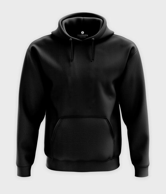 Męska bluza z kapturem (bez nadruku, gładka) - czarna