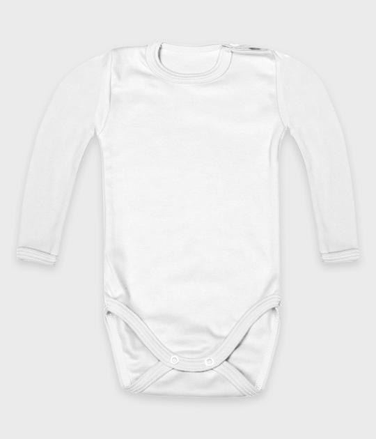 Body dziecięce z długim rękawem (bez nadruku, gładkie) - białe