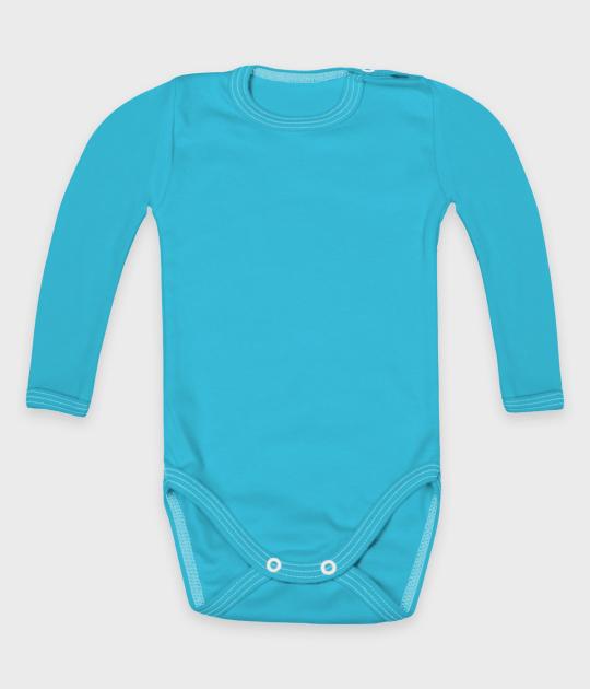 Body dziecięce z długim rękawem (bez nadruku, gładkie) - niebieskie