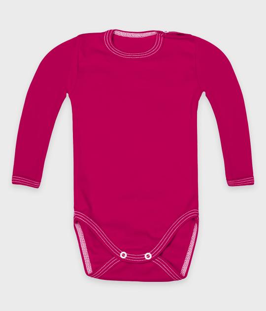 Body dziecięce z długim rękawem (bez nadruku, gładkie) - różowe