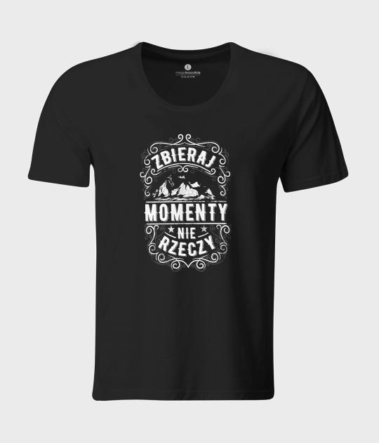 Koszulka męska z luźnym dekoltem Collect moments not things