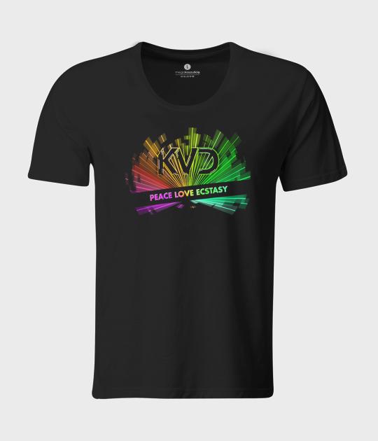 Koszulka męska z luźnym dekoltem Peace Love Ecstasy