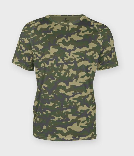 Męska koszulka moro (bez nadruku, gładka) - zielona