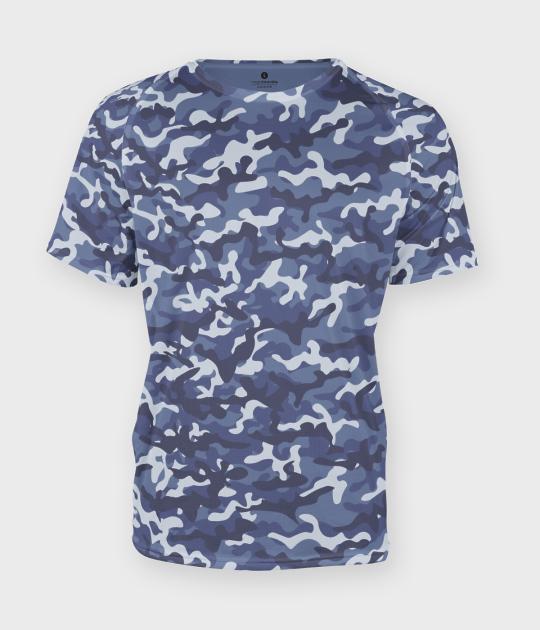Męska koszulka moro (bez nadruku, gładka) - niebieska