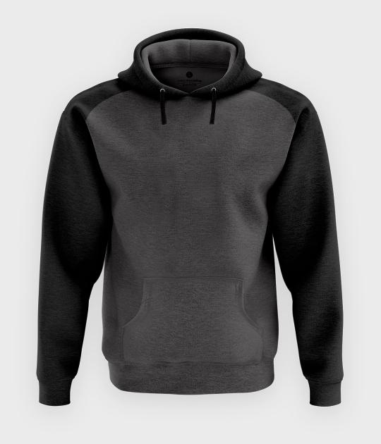 Męska bluza dwukolorowa (bez nadruku, gładka) - grafitowo-czarna