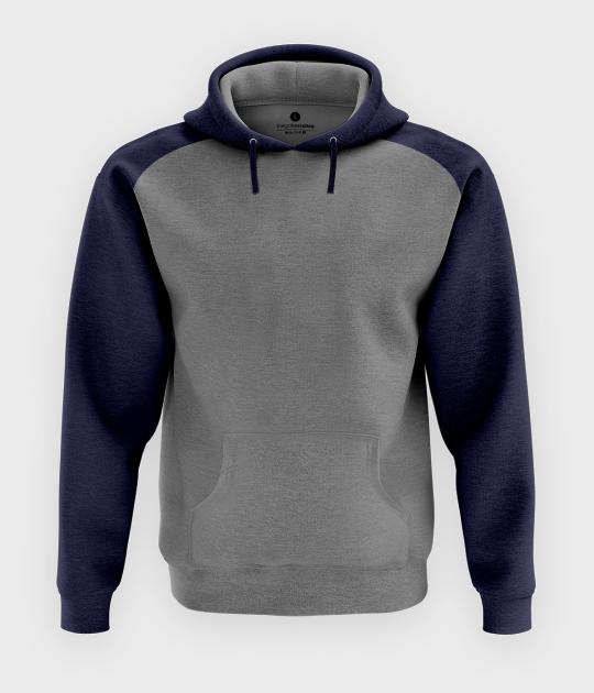 Męska bluza dwukolorowa (bez nadruku, gładka) - grafitowo-szara