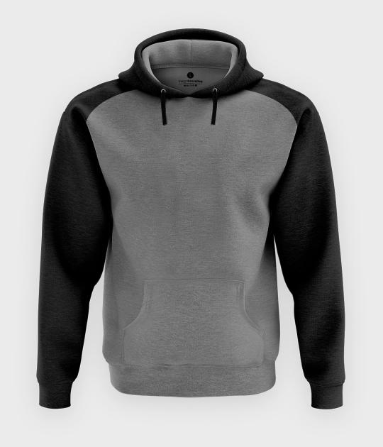 Męska bluza dwukolorowa (bez nadruku, gładka) - czarno-szara