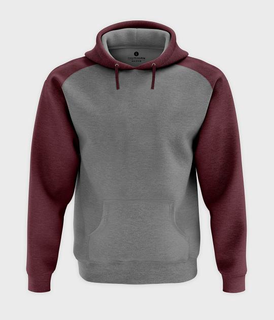 Męska bluza dwukolorowa (bez nadruku, gładka) - burgundowa
