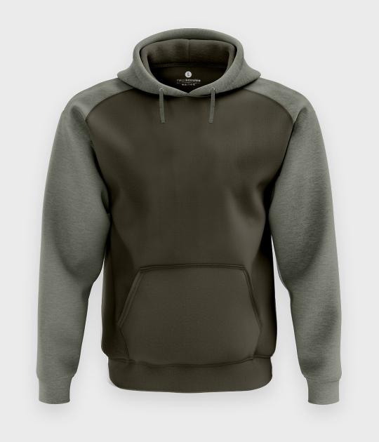 Męska bluza dwukolorowa premium (bez nadruku, gładka) - oliwkowa