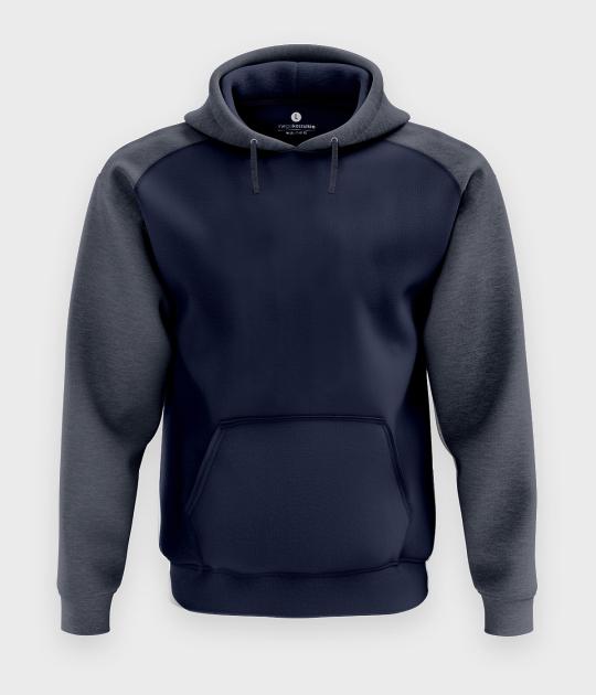 Męska bluza dwukolorowa premium (bez nadruku, gładka) - niebieska