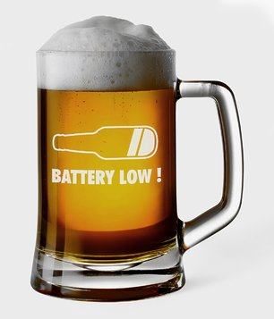 Kufel do piwa Battery low