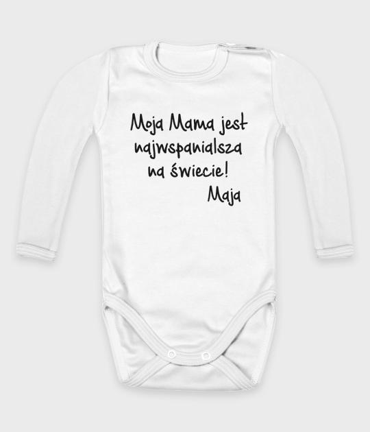 Body dziecięce z długim rękawem Moja Mama jest najwspanialsza + imię dziecka