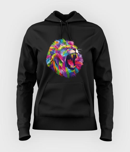 Bluza damska z kapturem Kolorowy lew