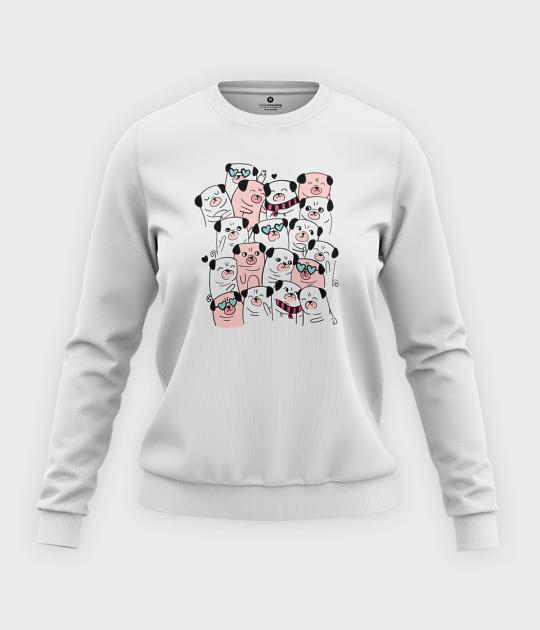 Bluza klasyczna damska Atak mopsów