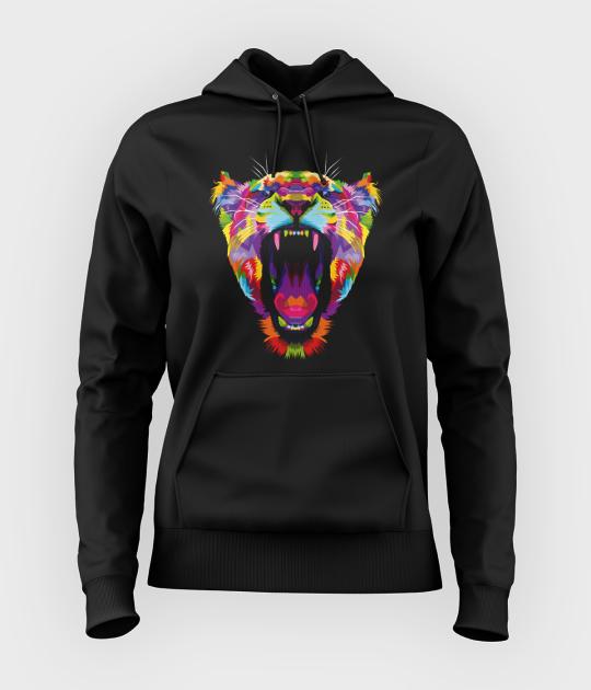 Bluza damska z kapturem Kolorowy tygrys