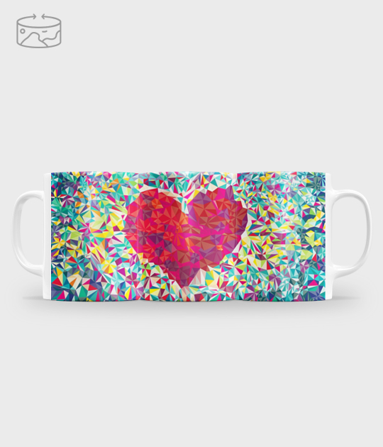 Kubek full print (panorama) Geometric heart