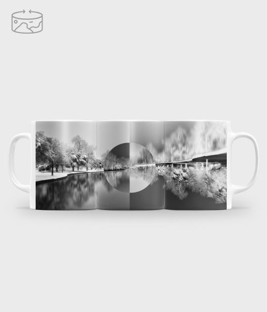 Kubek full print (panorama) Black and white