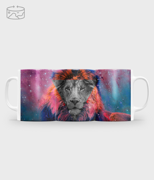 Kubek full print (panorama) Badass lion