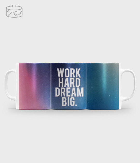 Kubek full print (panorama) Work hard dream big