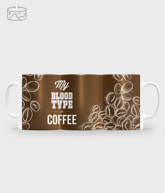 Kubek full print (panorama) My blood type is coffee