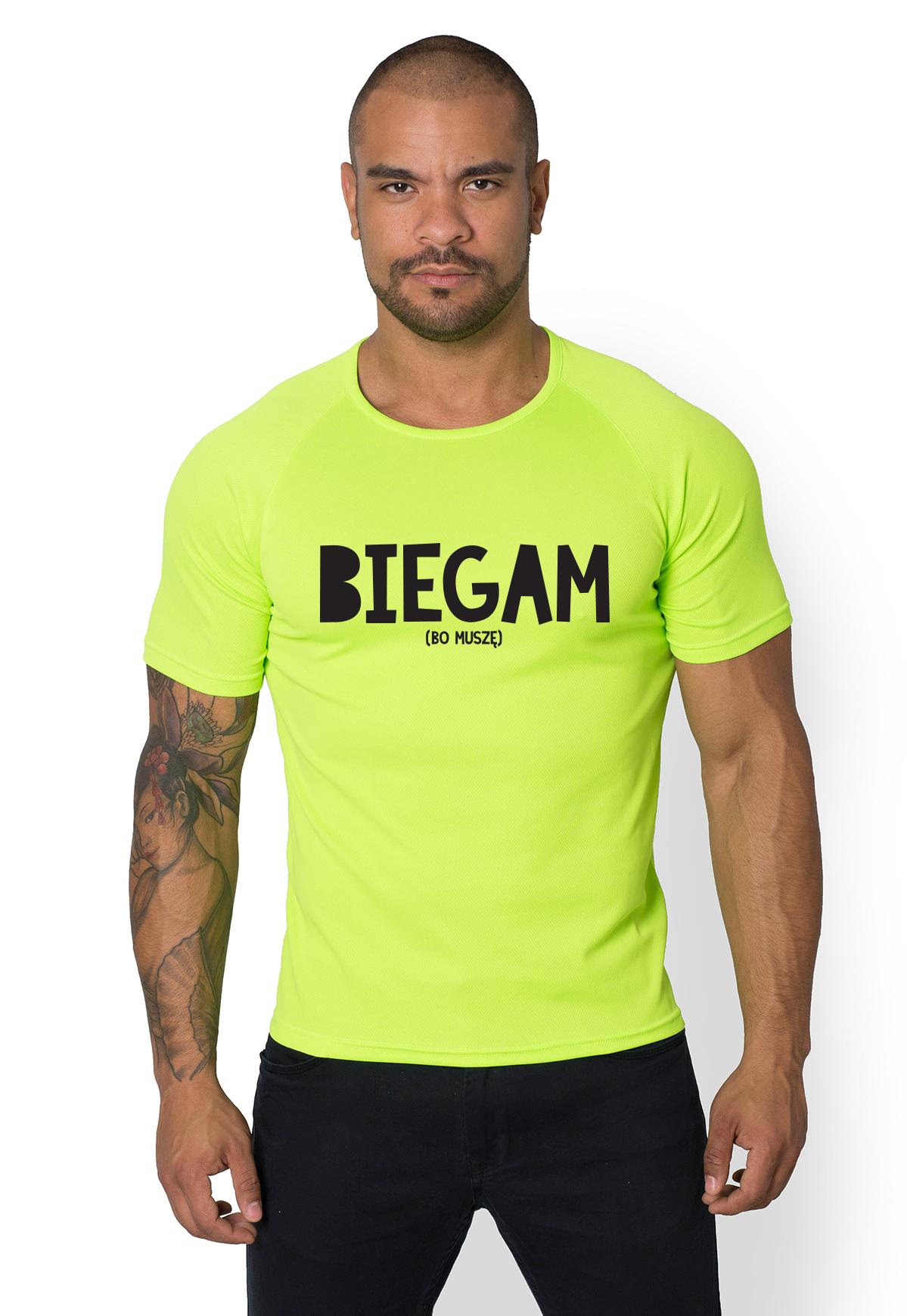 Koszulka sportowa Biegam bo muszę