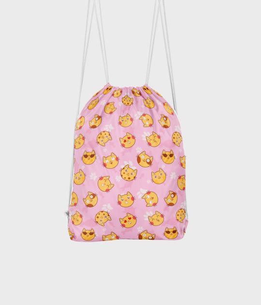 Plecak workowy Kocie buźki z różowym tłem