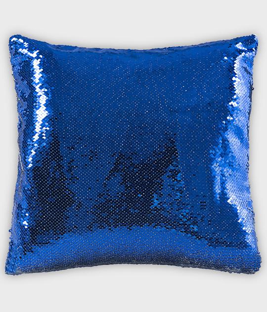 Poduszka z cekinami niebieska (bez nadruku)