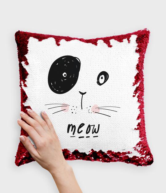 Poduszka z cekinami czerwono-biała Kot Meow
