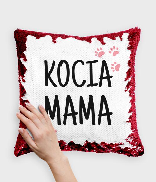 Poduszka z cekinami czerwono-biała Kocia Mama 2
