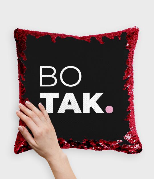 Poduszka z cekinami czerwono-biała Bo tak