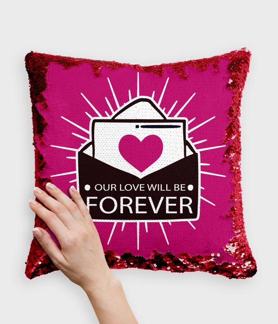Poduszka z cekinami czerwono-biała Forever