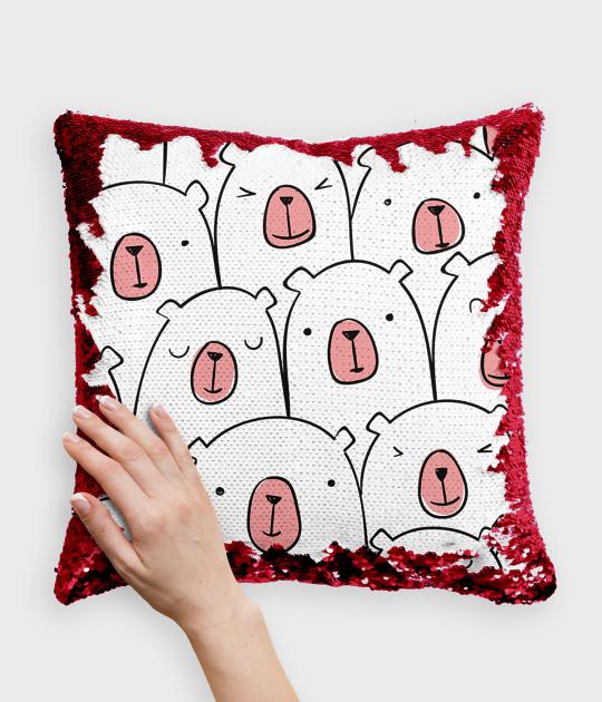 Poduszka z cekinami czerwono-biała Stworzony do przytulania