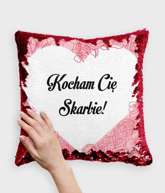 Poduszka z cekinami czerwono-biała Kocham Cię Skarbie