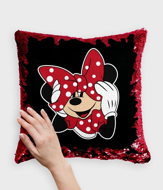 Poduszka z cekinami czerwono-biała Myszka Minnie