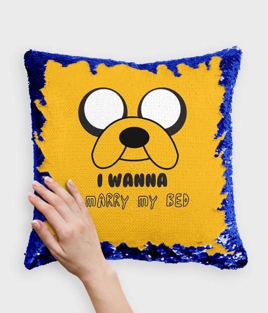 Poduszka z cekinami niebiesko-biała Magical dog