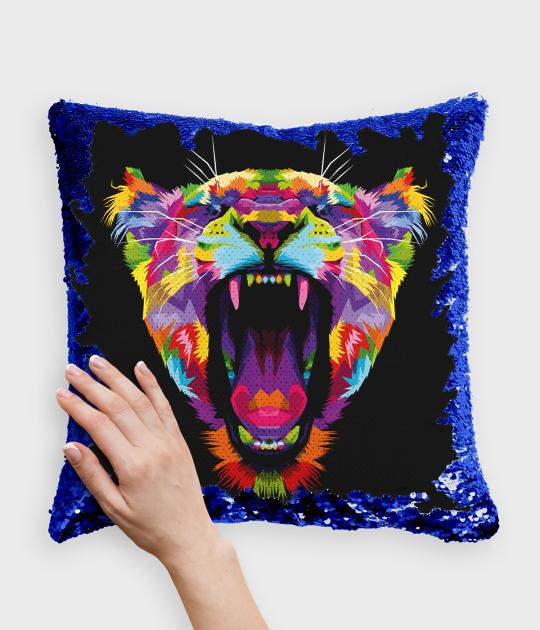 Poduszka z cekinami niebiesko-biała Kolorowy tygrys