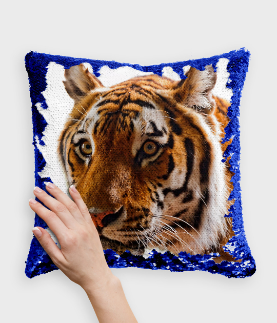 Poduszka z cekinami niebiesko-biała Tiger 4
