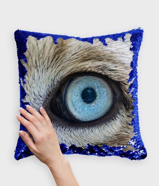 Poduszka z cekinami niebiesko-biała Eye of a lion