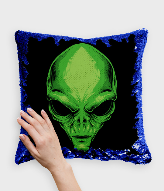 Poduszka z cekinami niebiesko-biała Zielony kosmita