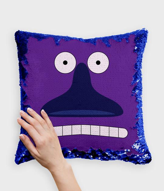Poduszka z cekinami niebiesko-biała Muminki - Buka
