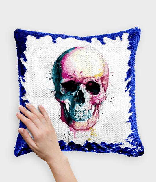 Poduszka z cekinami niebiesko-biała Watercolor skull