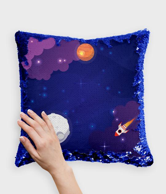 Poduszka z cekinami niebiesko-biała Ukryty Kosmos