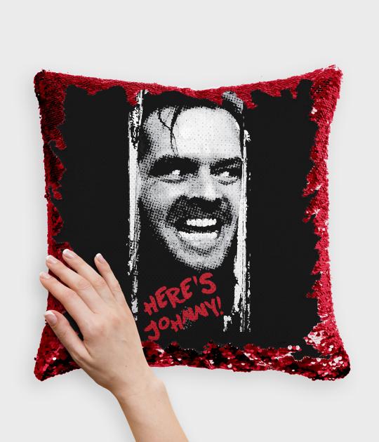 Poduszka z cekinami czerwono-biała Lśnienie Heres Johnny