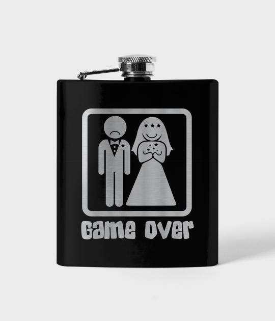 Piersiówka czarna Game over