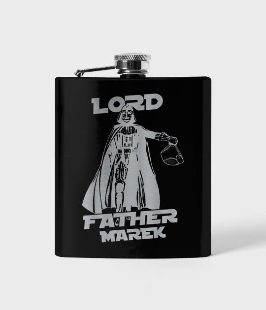 Piersiówka czarna LORD FATHER + Twoje Imię