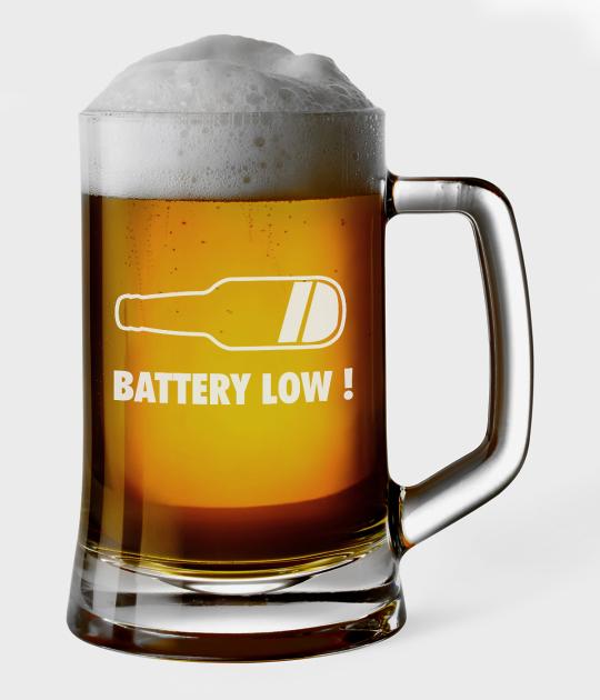 Kufel do piwa Battery low