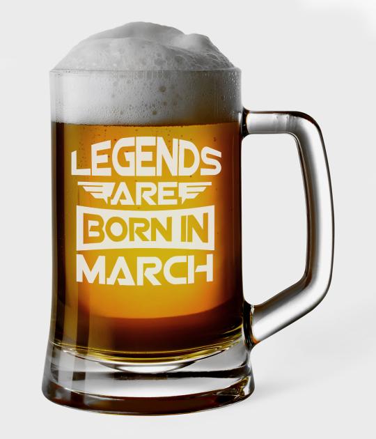Kufel do piwa Legends are born in + Twój miesiąc